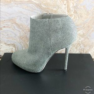Sergio Rossi Embossed Leather Round Toe Boots